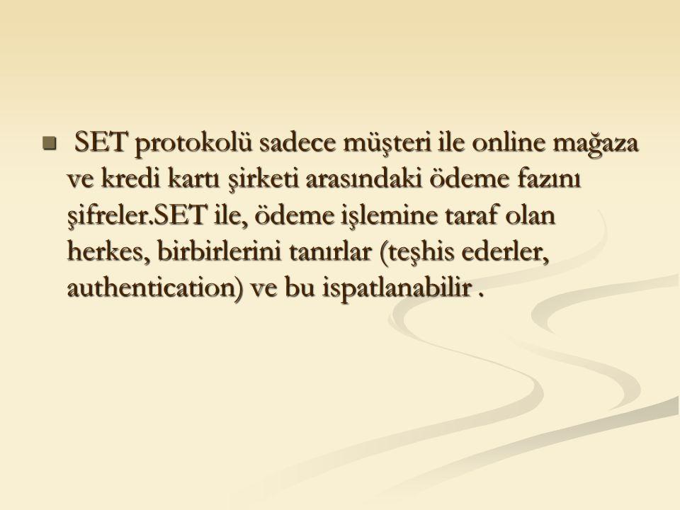 SET protokolü sadece müşteri ile online mağaza ve kredi kartı şirketi arasındaki ödeme fazını şifreler.SET ile, ödeme işlemine taraf olan herkes, birb