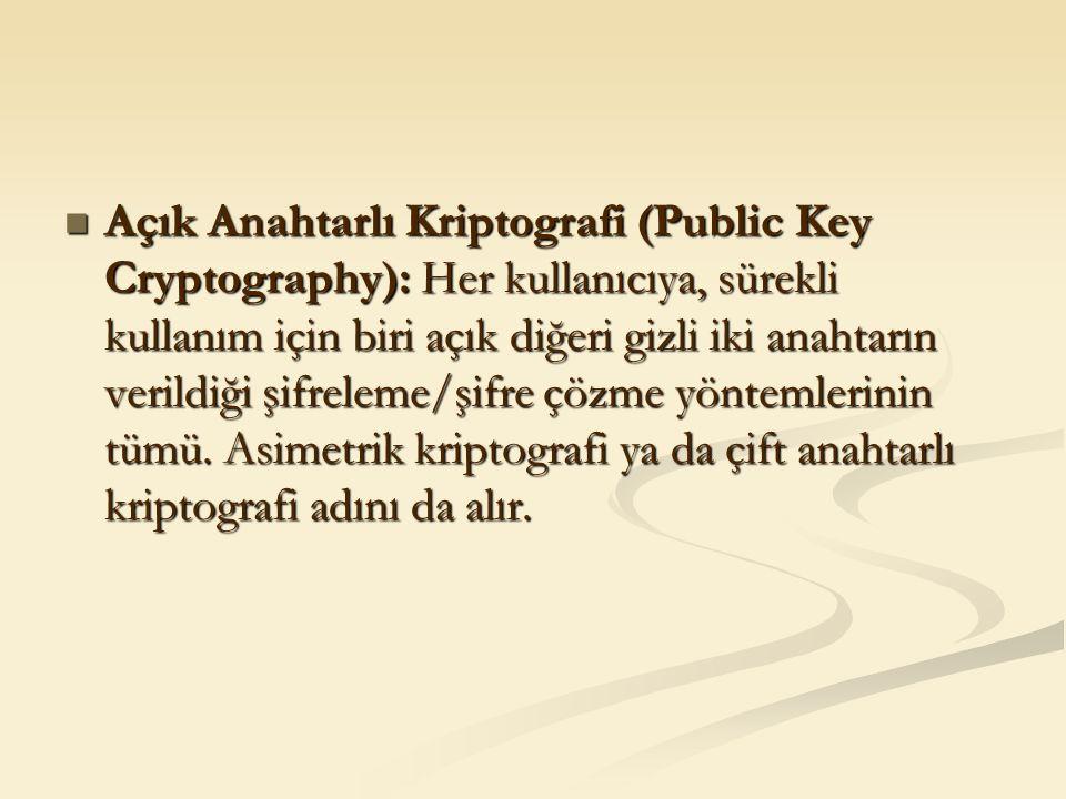 Açık Anahtarlı Kriptografi (Public Key Cryptography): Her kullanıcıya, sürekli kullanım için biri açık diğeri gizli iki anahtarın verildiği şifreleme/