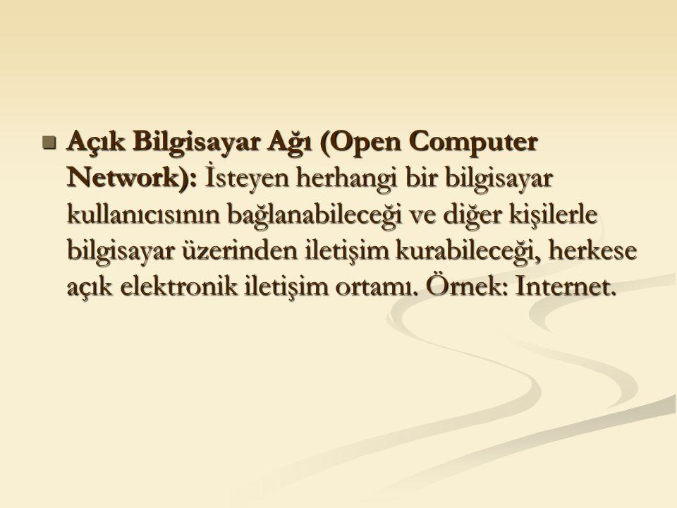 Açık Bilgisayar Ağı (Open Computer Network): İsteyen herhangi bir bilgisayar kullanıcısının bağlanabileceği ve diğer kişilerle bilgisayar üzerinden il
