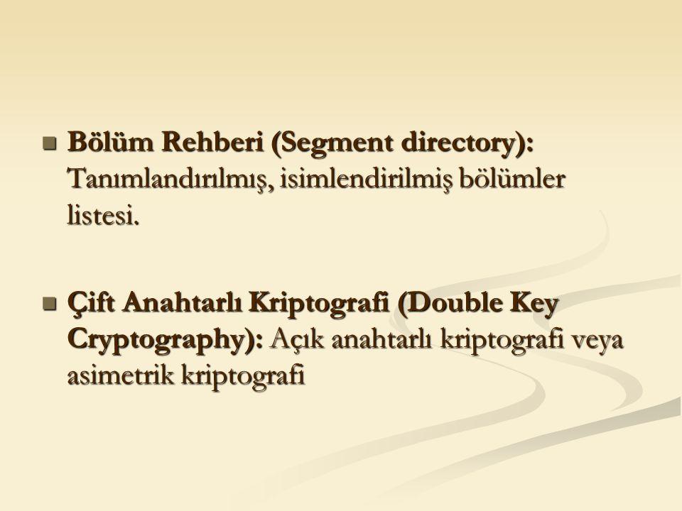 Bölüm Rehberi (Segment directory): Tanımlandırılmış, isimlendirilmiş bölümler listesi. Bölüm Rehberi (Segment directory): Tanımlandırılmış, isimlendir