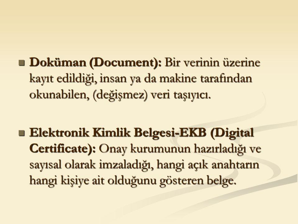 Doküman (Document): Bir verinin üzerine kayıt edildiği, insan ya da makine tarafından okunabilen, (değişmez) veri taşıyıcı. Doküman (Document): Bir ve