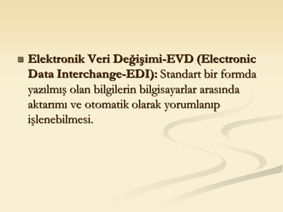 Elektronik Veri Değişimi-EVD (Electronic Data Interchange-EDI): Standart bir formda yazılmış olan bilgilerin bilgisayarlar arasında aktarımı ve otomat