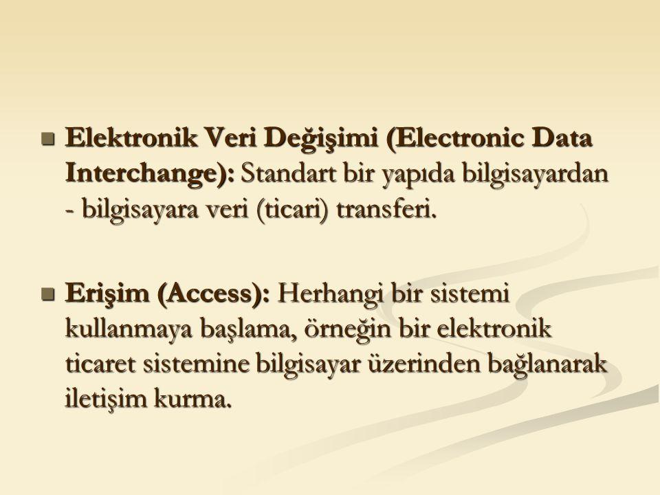 Elektronik Veri Değişimi (Electronic Data Interchange): Standart bir yapıda bilgisayardan - bilgisayara veri (ticari) transferi. Elektronik Veri Değiş