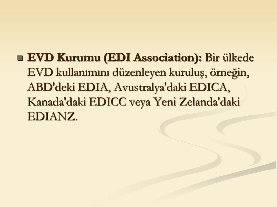 EVD Kurumu (EDI Association): Bir ülkede EVD kullanımını düzenleyen kuruluş, örneğin, ABD'deki EDIA, Avustralya'daki EDICA, Kanada'daki EDICC veya Yen