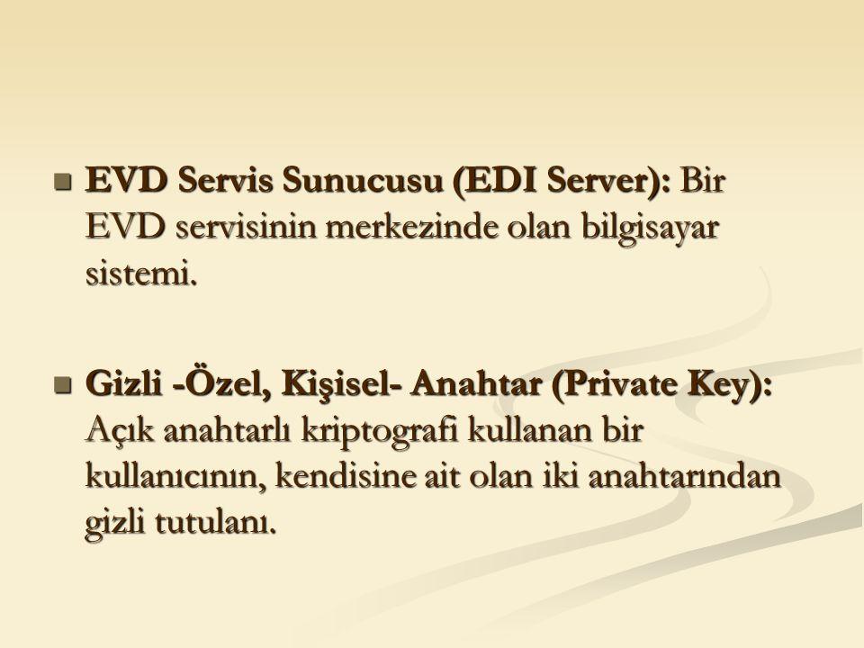 EVD Servis Sunucusu (EDI Server): Bir EVD servisinin merkezinde olan bilgisayar sistemi. EVD Servis Sunucusu (EDI Server): Bir EVD servisinin merkezin