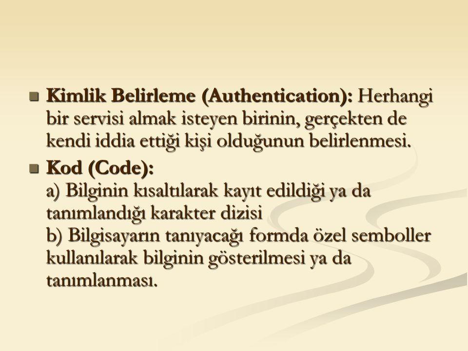 Kimlik Belirleme (Authentication): Herhangi bir servisi almak isteyen birinin, gerçekten de kendi iddia ettiği kişi olduğunun belirlenmesi. Kimlik Bel