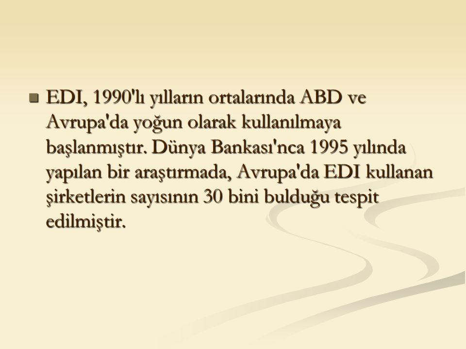 EDI, 1990'lı yılların ortalarında ABD ve Avrupa'da yoğun olarak kullanılmaya başlanmıştır. Dünya Bankası'nca 1995 yılında yapılan bir araştırmada, Avr