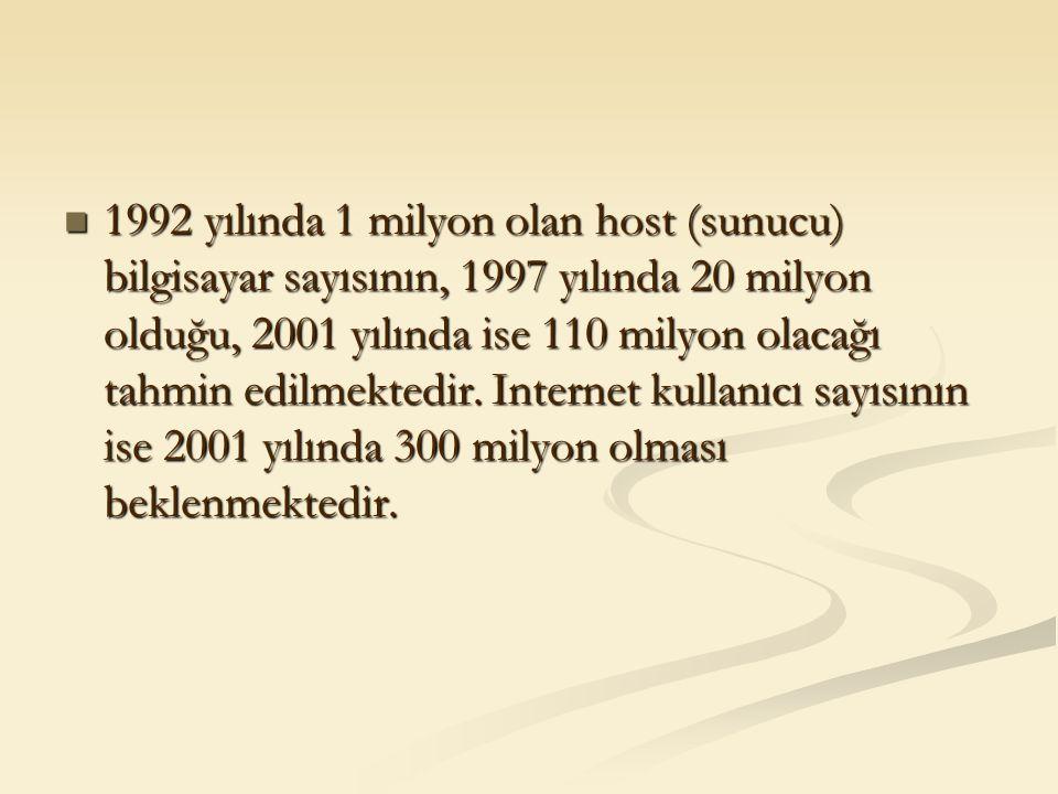 1992 yılında 1 milyon olan host (sunucu) bilgisayar sayısının, 1997 yılında 20 milyon olduğu, 2001 yılında ise 110 milyon olacağı tahmin edilmektedir.