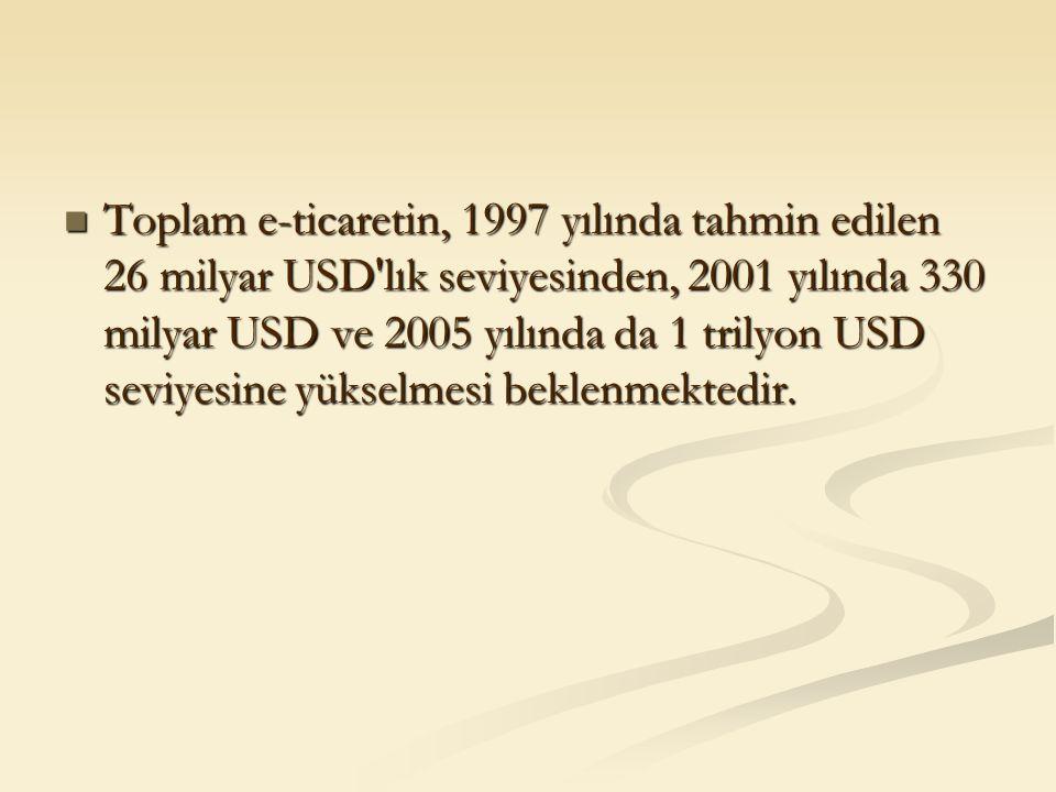 Toplam e-ticaretin, 1997 yılında tahmin edilen 26 milyar USD'lık seviyesinden, 2001 yılında 330 milyar USD ve 2005 yılında da 1 trilyon USD seviyesine