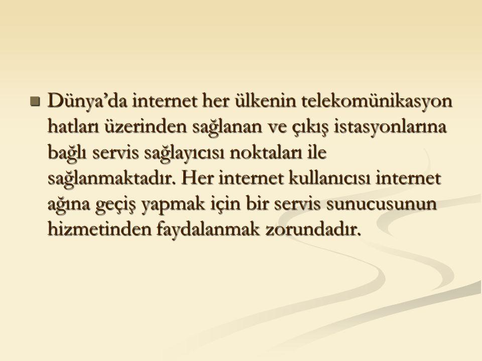 Dünya'da internet her ülkenin telekomünikasyon hatları üzerinden sağlanan ve çıkış istasyonlarına bağlı servis sağlayıcısı noktaları ile sağlanmaktadı