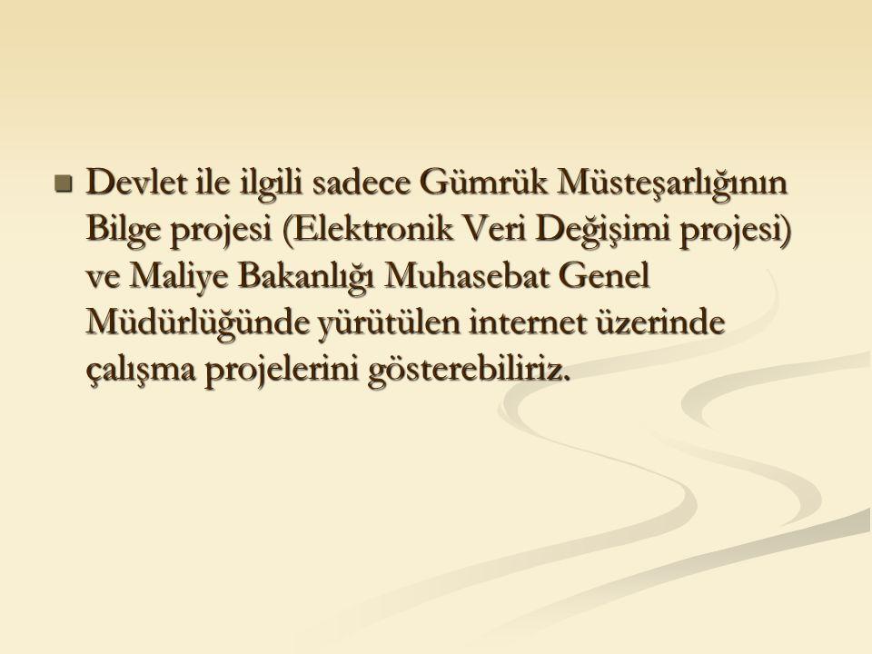 Devlet ile ilgili sadece Gümrük Müsteşarlığının Bilge projesi (Elektronik Veri Değişimi projesi) ve Maliye Bakanlığı Muhasebat Genel Müdürlüğünde yürü