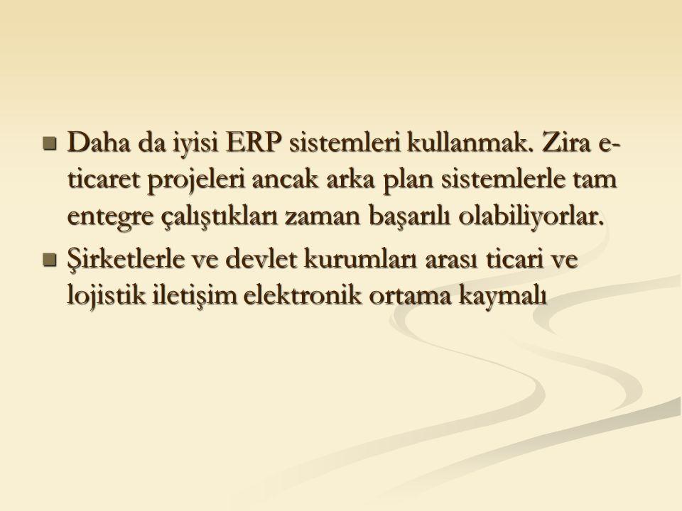 Daha da iyisi ERP sistemleri kullanmak. Zira e- ticaret projeleri ancak arka plan sistemlerle tam entegre çalıştıkları zaman başarılı olabiliyorlar. D