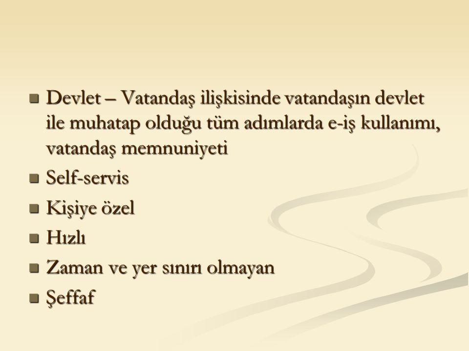 Devlet – Vatandaş ilişkisinde vatandaşın devlet ile muhatap olduğu tüm adımlarda e-iş kullanımı, vatandaş memnuniyeti Devlet – Vatandaş ilişkisinde va
