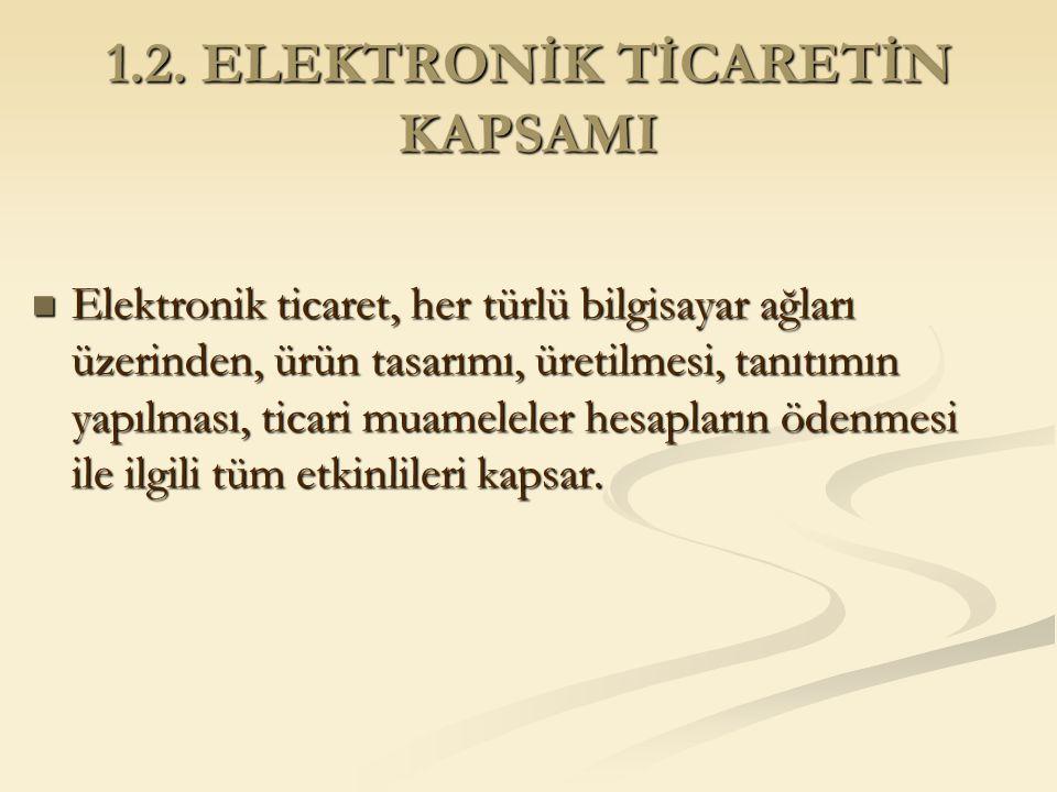 1.2. ELEKTRONİK TİCARETİN KAPSAMI Elektronik ticaret, her türlü bilgisayar ağları üzerinden, ürün tasarımı, üretilmesi, tanıtımın yapılması, ticari mu