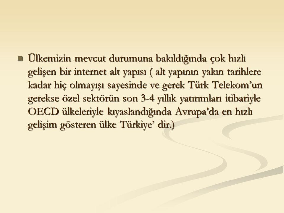 Ülkemizin mevcut durumuna bakıldığında çok hızlı gelişen bir internet alt yapısı ( alt yapının yakın tarihlere kadar hiç olmayışı sayesinde ve gerek Türk Telekom'un gerekse özel sektörün son 3-4 yıllık yatırımları itibariyle OECD ülkeleriyle kıyaslandığında Avrupa'da en hızlı gelişim gösteren ülke Türkiye' dir.) Ülkemizin mevcut durumuna bakıldığında çok hızlı gelişen bir internet alt yapısı ( alt yapının yakın tarihlere kadar hiç olmayışı sayesinde ve gerek Türk Telekom'un gerekse özel sektörün son 3-4 yıllık yatırımları itibariyle OECD ülkeleriyle kıyaslandığında Avrupa'da en hızlı gelişim gösteren ülke Türkiye' dir.)