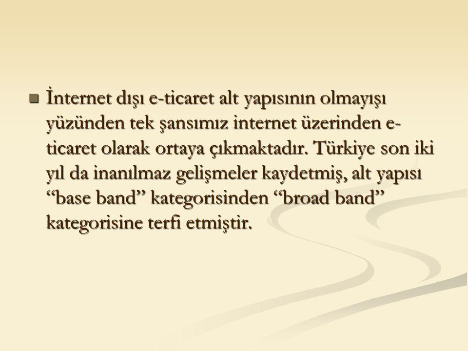 İnternet dışı e-ticaret alt yapısının olmayışı yüzünden tek şansımız internet üzerinden e- ticaret olarak ortaya çıkmaktadır.