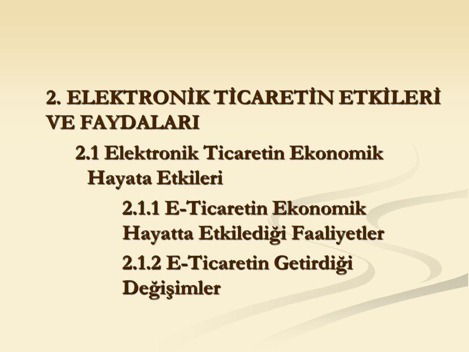 2. ELEKTRONİK TİCARETİN ETKİLERİ VE FAYDALARI 2.1 Elektronik Ticaretin Ekonomik Hayata Etkileri 2.1.1 E-Ticaretin Ekonomik Hayatta Etkilediği Faaliyet