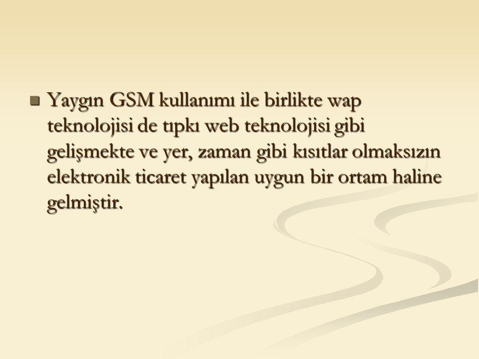 Yaygın GSM kullanımı ile birlikte wap teknolojisi de tıpkı web teknolojisi gibi gelişmekte ve yer, zaman gibi kısıtlar olmaksızın elektronik ticaret y