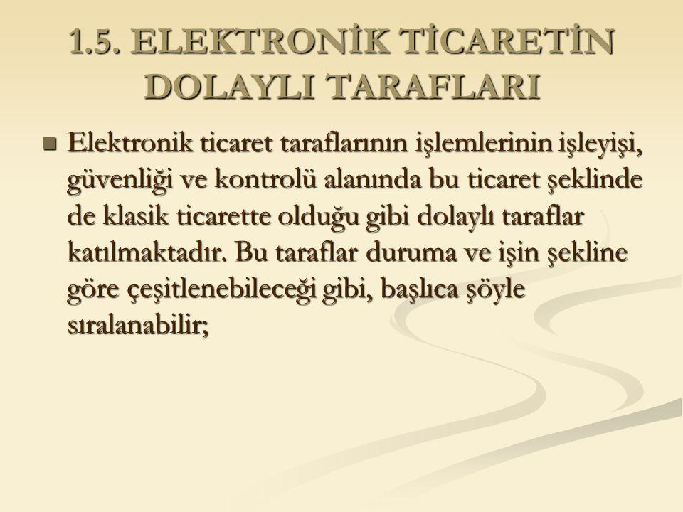 1.5. ELEKTRONİK TİCARETİN DOLAYLI TARAFLARI Elektronik ticaret taraflarının işlemlerinin işleyişi, güvenliği ve kontrolü alanında bu ticaret şeklinde