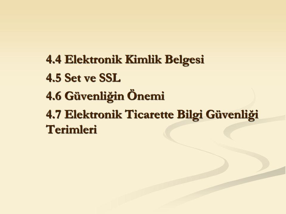 4.4 Elektronik Kimlik Belgesi 4.5 Set ve SSL 4.6 Güvenliğin Önemi 4.7 Elektronik Ticarette Bilgi Güvenliği Terimleri