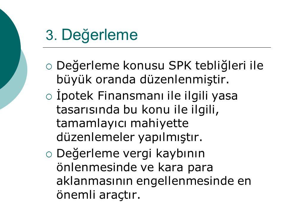 3. Değerleme  Değerleme konusu SPK tebliğleri ile büyük oranda düzenlenmiştir.  İpotek Finansmanı ile ilgili yasa tasarısında bu konu ile ilgili, ta