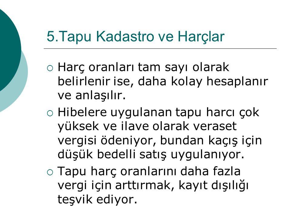 5.Tapu Kadastro ve Harçlar  Harç oranları tam sayı olarak belirlenir ise, daha kolay hesaplanır ve anlaşılır.  Hibelere uygulanan tapu harcı çok yük