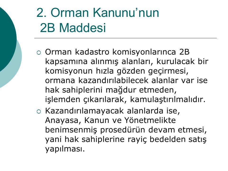 2. Orman Kanunu'nun 2B Maddesi  Orman kadastro komisyonlarınca 2B kapsamına alınmış alanları, kurulacak bir komisyonun hızla gözden geçirmesi, ormana
