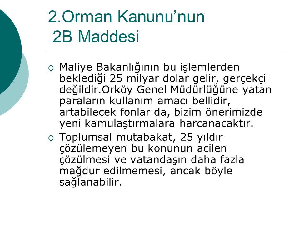 2.Orman Kanunu'nun 2B Maddesi  Maliye Bakanlığının bu işlemlerden beklediği 25 milyar dolar gelir, gerçekçi değildir.Orköy Genel Müdürlüğüne yatan pa