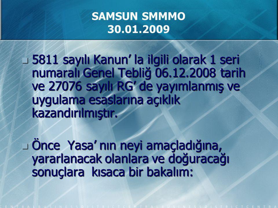 5811 sayılı Kanun' la ilgili olarak 1 seri numaralı Genel Tebliğ 06.12.2008 tarih ve 27076 sayılı RG' de yayımlanmış ve uygulama esaslarına açıklık ka