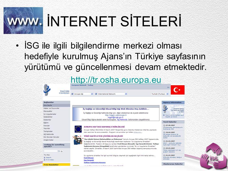 İSG ile ilgili bilgilendirme merkezi olması hedefiyle kurulmuş Ajans'ın Türkiye sayfasının yürütümü ve güncellenmesi devam etmektedir. http://tr.osha.