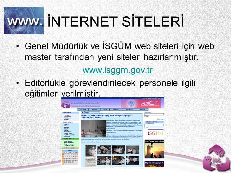 Genel Müdürlük ve İSGÜM web siteleri için web master tarafından yeni siteler hazırlanmıştır. www.isggm.gov.tr Editörlükle görevlendirilecek personele
