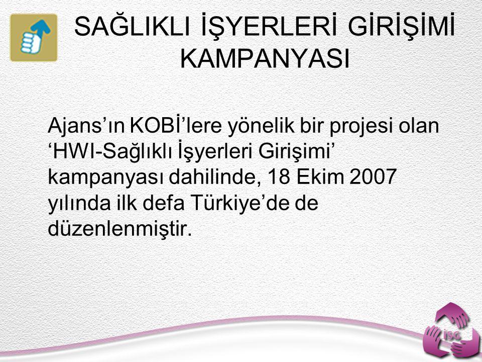 Ajans'ın KOBİ'lere yönelik bir projesi olan 'HWI-Sağlıklı İşyerleri Girişimi' kampanyası dahilinde, 18 Ekim 2007 yılında ilk defa Türkiye'de de düzenlenmiştir.