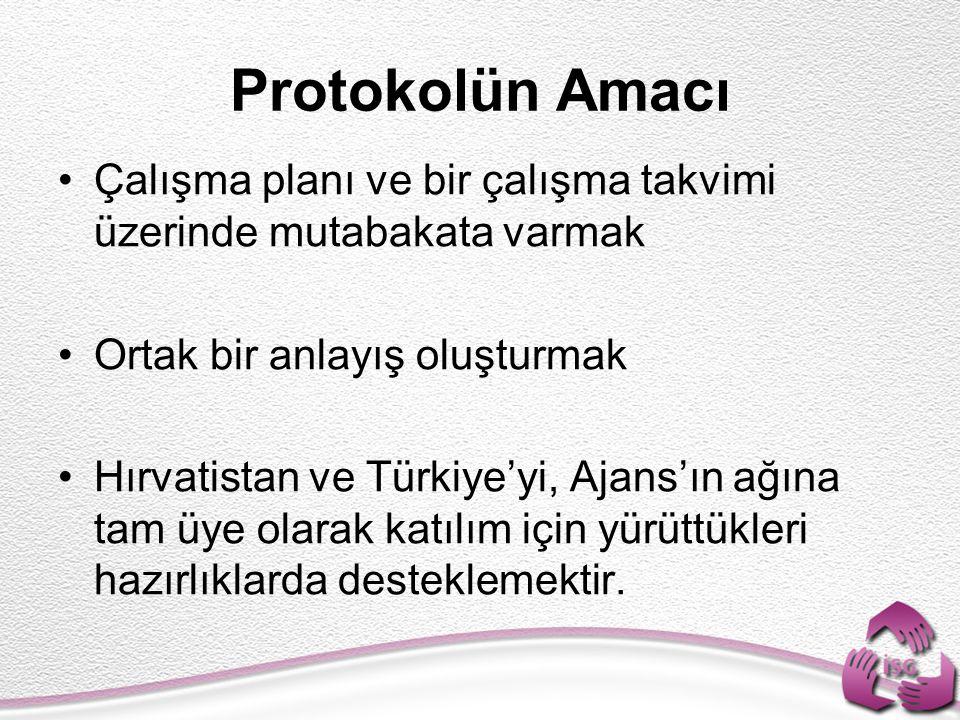 Protokolün Amacı Çalışma planı ve bir çalışma takvimi üzerinde mutabakata varmak Ortak bir anlayış oluşturmak Hırvatistan ve Türkiye'yi, Ajans'ın ağına tam üye olarak katılım için yürüttükleri hazırlıklarda desteklemektir.