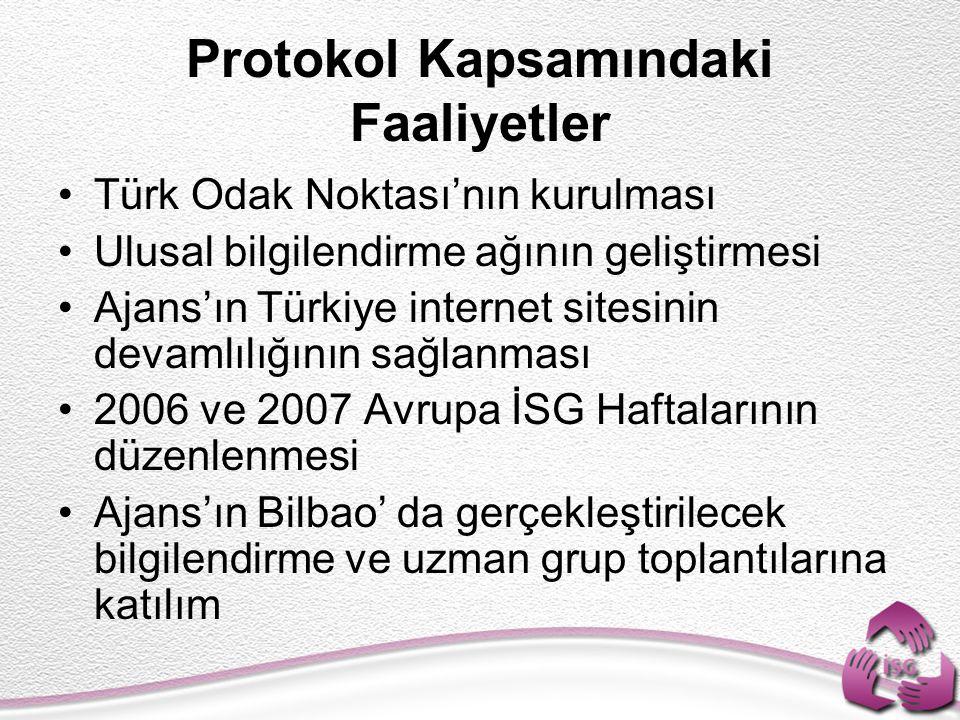 Protokol Kapsamındaki Faaliyetler Türk Odak Noktası'nın kurulması Ulusal bilgilendirme ağının geliştirmesi Ajans'ın Türkiye internet sitesinin devamlılığının sağlanması 2006 ve 2007 Avrupa İSG Haftalarının düzenlenmesi Ajans'ın Bilbao' da gerçekleştirilecek bilgilendirme ve uzman grup toplantılarına katılım