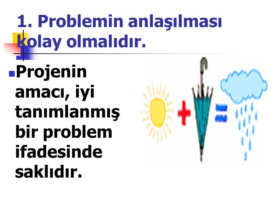 1.Problemin anlaşılması kolay olmalıdır.