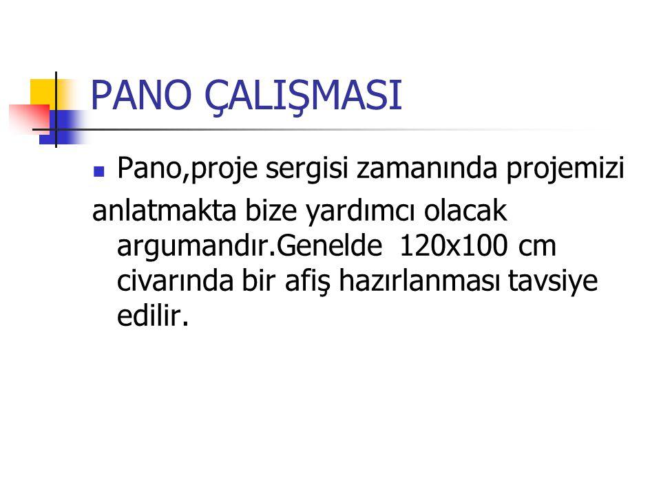 PANO ÇALIŞMASI Pano,proje sergisi zamanında projemizi anlatmakta bize yardımcı olacak argumandır.Genelde 120x100 cm civarında bir afiş hazırlanması tavsiye edilir.
