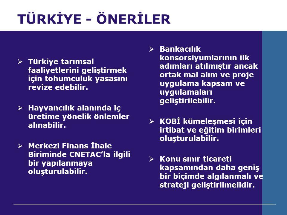 TÜRKİYE - ÖNERİLER  Türkiye tarımsal faaliyetlerini geliştirmek için tohumculuk yasasını revize edebilir.  Hayvancılık alanında iç üretime yönelik ö