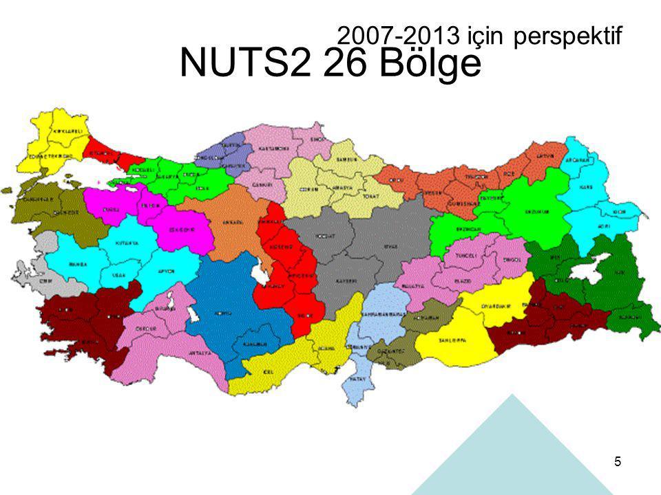 5 NUTS2 26 Bölge 2007-2013 için perspektif