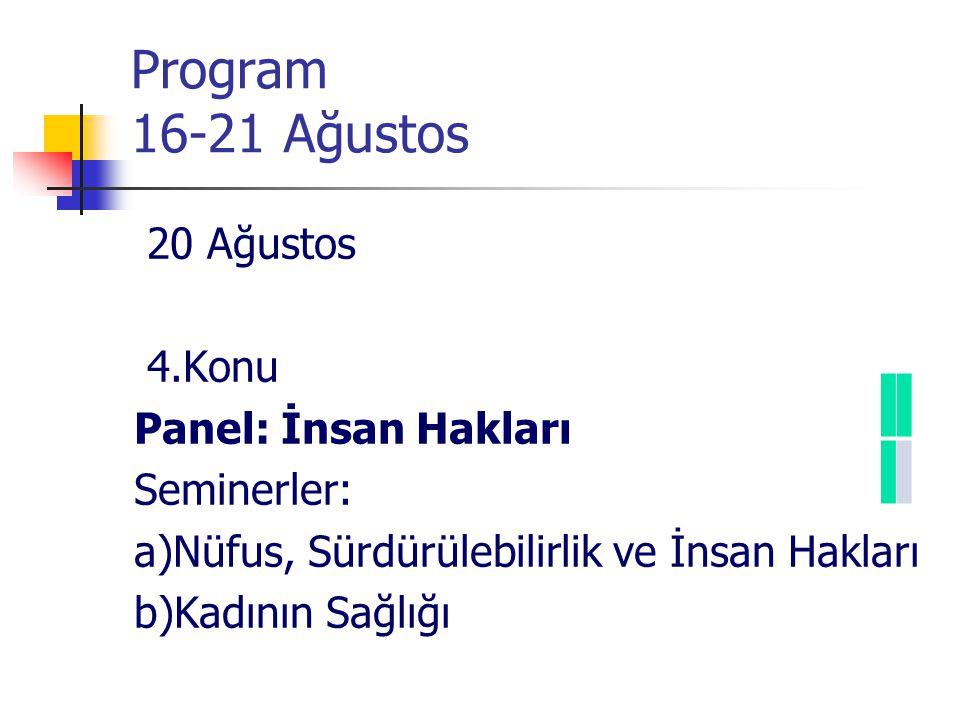 Program 16-21 Ağustos 20 Ağustos 4.Konu Panel: İnsan Hakları Seminerler: a)Nüfus, Sürdürülebilirlik ve İnsan Hakları b)Kadının Sağlığı