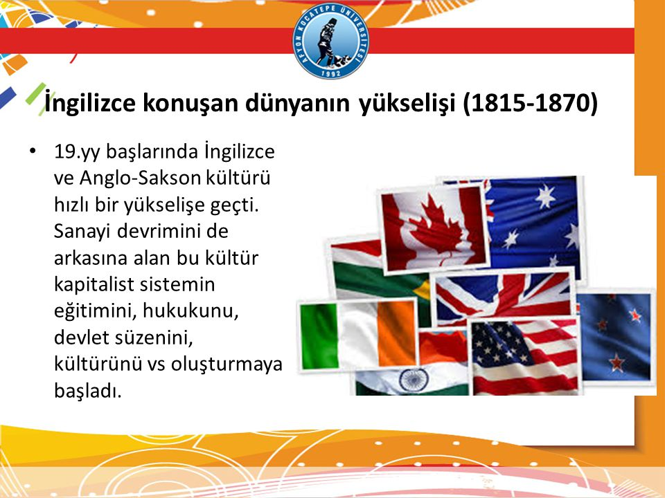İngilizce konuşan dünyanın yükselişi (1815-1870) 19.yy başlarında İngilizce ve Anglo-Sakson kültürü hızlı bir yükselişe geçti.