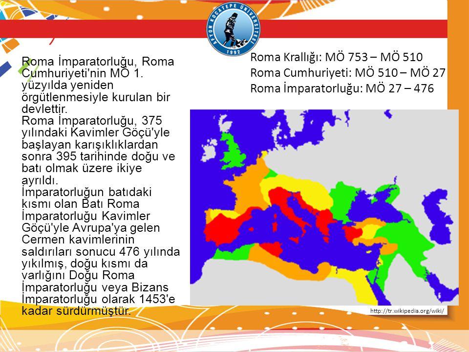 Roma İmparatorluğu, Roma Cumhuriyeti'nin MÖ 1. yüzyılda yeniden örgütlenmesiyle kurulan bir devlettir. Roma İmparatorluğu, 375 yılındaki Kavimler Göçü