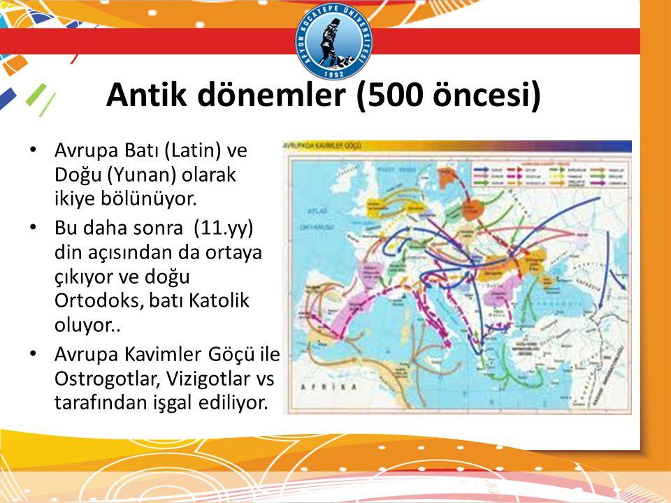 Antik dönemler (500 öncesi) Avrupa Batı (Latin) ve Doğu (Yunan) olarak ikiye bölünüyor. Bu daha sonra (11.yy) din açısından da ortaya çıkıyor ve doğu