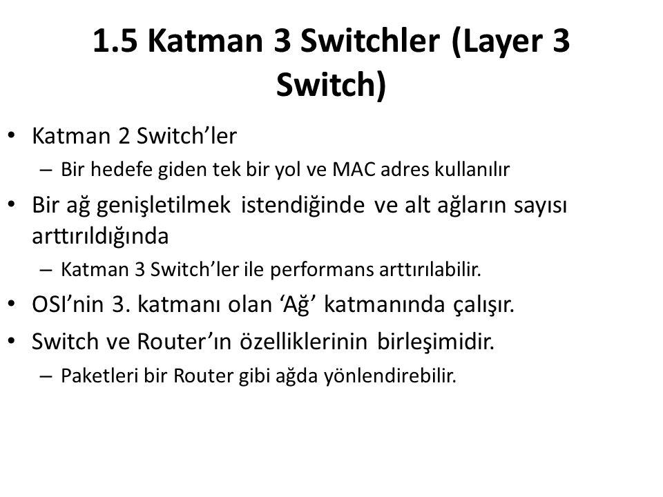 1.5 Katman 3 Switchler (Layer 3 Switch) Katman 2 Switch'ler – Bir hedefe giden tek bir yol ve MAC adres kullanılır Bir ağ genişletilmek istendiğinde ve alt ağların sayısı arttırıldığında – Katman 3 Switch'ler ile performans arttırılabilir.
