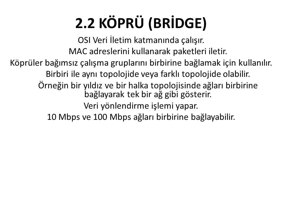 2.2 KÖPRÜ (BRİDGE) OSI Veri İletim katmanında çalışır. MAC adreslerini kullanarak paketleri iletir. Köprüler bağımsız çalışma gruplarını birbirine bağ