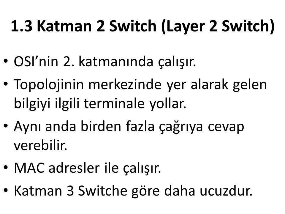 1.3 Katman 2 Switch (Layer 2 Switch) OSI'nin 2. katmanında çalışır. Topolojinin merkezinde yer alarak gelen bilgiyi ilgili terminale yollar. Aynı anda