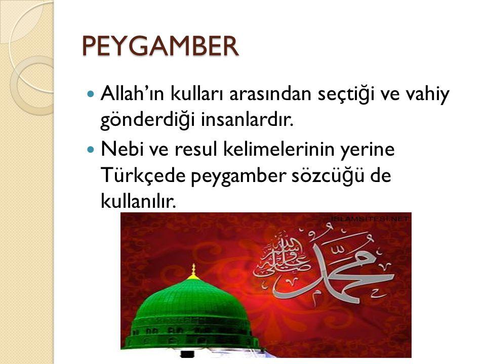 PEYGAMBER Allah'ın kulları arasından seçti ğ i ve vahiy gönderdi ğ i insanlardır. Nebi ve resul kelimelerinin yerine Türkçede peygamber sözcü ğ ü de k