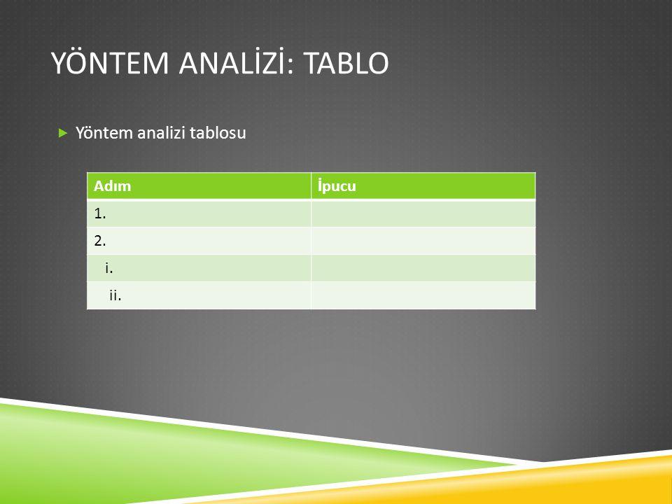 YÖNTEM ANALİZİ: TABLO  Yöntem analizi tablosu Adımİpucu 1. 2. i. ii.