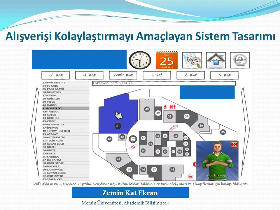 Alışverişi Kolaylaştırmayı Amaçlayan Sistem Tasarımı Mersin Üniversitesi, Akademik Bilişim 2014 Zemin Kat Ekran