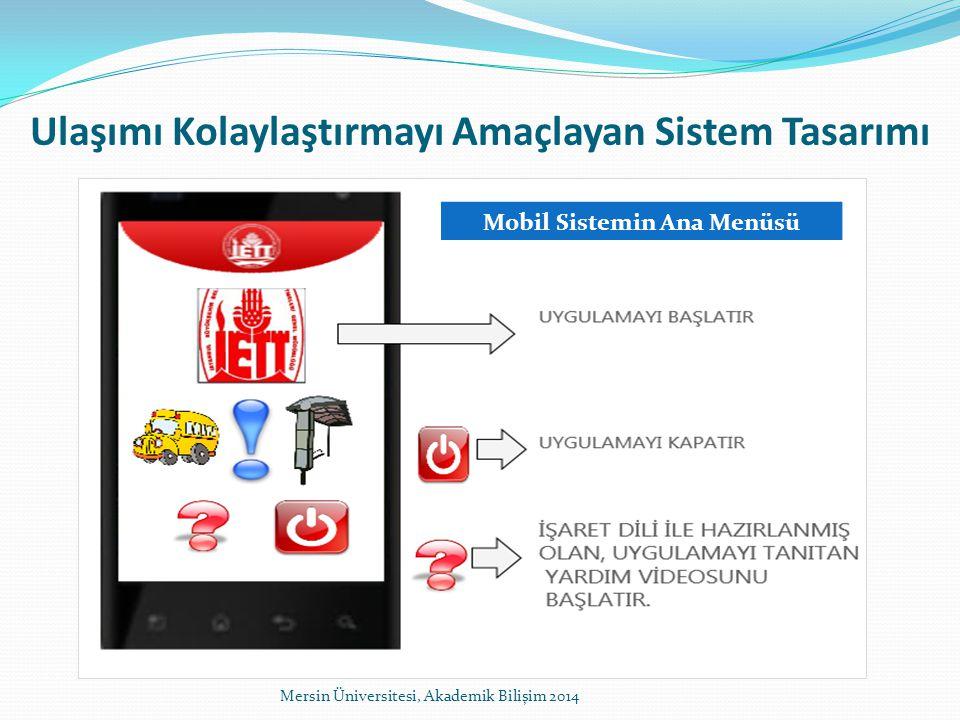Ulaşımı Kolaylaştırmayı Amaçlayan Sistem Tasarımı Mobil Sistemin Ana Menüsü Mersin Üniversitesi, Akademik Bilişim 2014