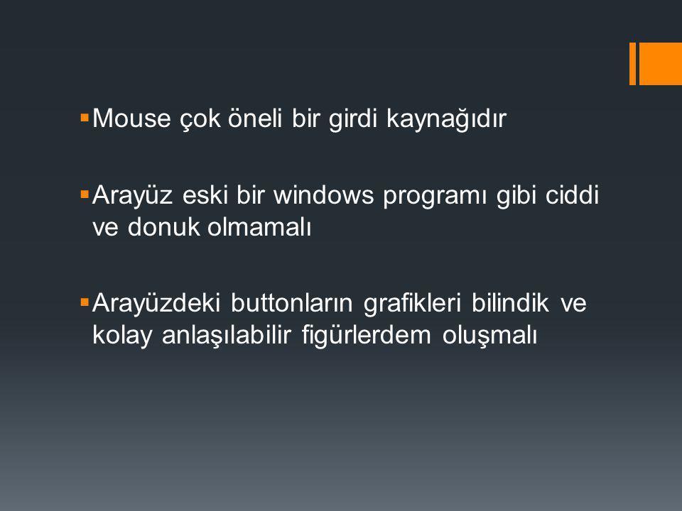  Mouse çok öneli bir girdi kaynağıdır  Arayüz eski bir windows programı gibi ciddi ve donuk olmamalı  Arayüzdeki buttonların grafikleri bilindik ve